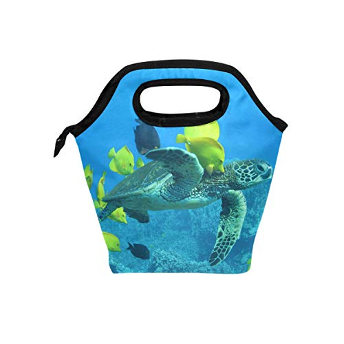 Lunch Bag Sea Turtle Fish Womens Insulated Lunch Tote Zipper Kids Lunch Box -