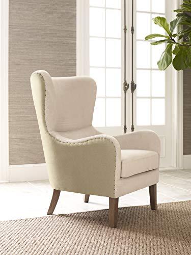 Elle Decor UPH100085E Modern Farmhouse Wingback Chair, Cream/Tan