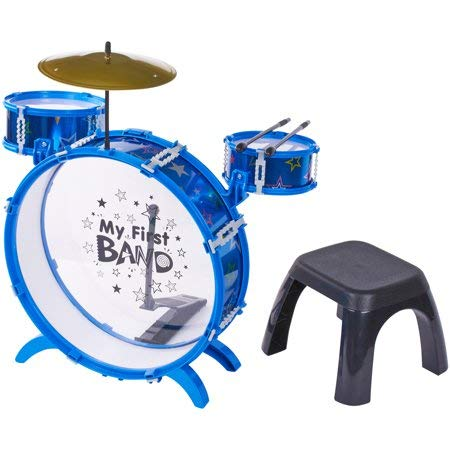 Bring Home a Fun,New Professional-Looking Drum Set for Your Little One,Kid Connection 9-Piece My First Metal Drum Set, Designed for Ages 3 and Up,Ideal Gift for Kids,Blue by Generic