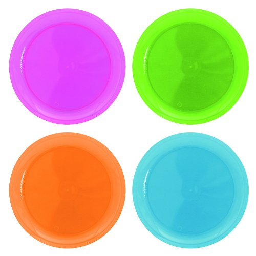 Party Essentials Hard Plastic 10.25-Inch Party/Dinner Plates, Assorted Neon, 20-Count (Children Plastic Plates)