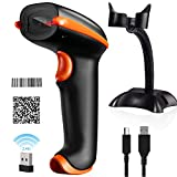 Tera [Upgraded Version] Barcode Scanner Wireless 1D 2D 2-in-1 (2.4G Wireless & USB 2.0 Wired) 2D QR Bar Code Scanner Cordless CMOS Image Barcode Reader for Payment Computer 2D Scanner with Stand