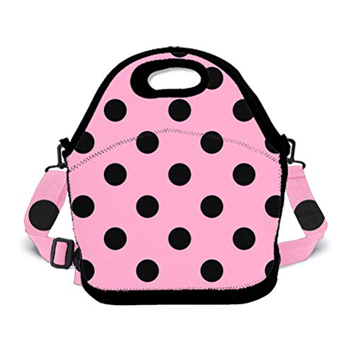 POP MKYTH Polka Dot Pink Large Reusable Insulated Lunch Tote Bag for Office School Picnic Travel Camping, Lunch Box Handbag with Zip Closure and 3D Shoulder - Quilted Handbag Polka Dot