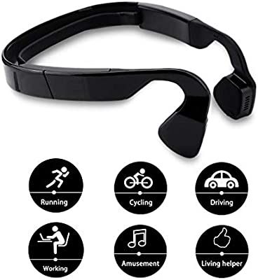 Tosuny Wireless Bluetooth Bone Conduction Headphones, Open-Ear IPX4 Waterproof Bluetooth V4.1 Sports Wireless Headsets with Mic for Running, Sports, Driving