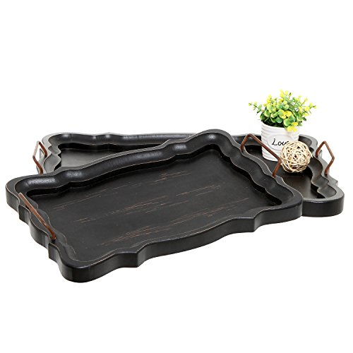 (MyGift Set of 2 Rustic Black Brown European Vintage Style Wood Serving Trays/Platters with Metal Handles)