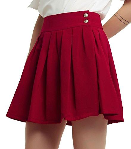 chouyatou Women's Double Waist Side Buttons Pleated Skirt (XX-Large, Dark Red)
