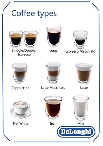 Delonghi super-automatic espresso coffee machine - with an adjustable silent ceramic grinder, double boiler, milk frother for brewing espresso, cappuccino, latte & macchiato, Eletta ECAM 45760 by DeLonghi (Image #5)