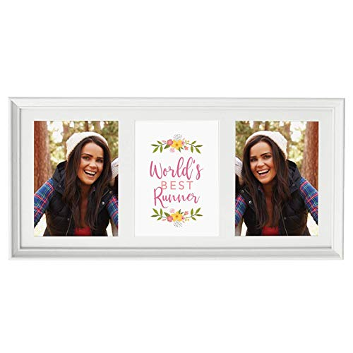 Framed Multi Photo Collage - Andaz Press 20.5-Inch Framed Collage Picture Wall Art Gift, World's Best Runner, Floral, 1-Pack, Christmas Birthday, Includes Multi Photo White Frame to Display Three 5x7-Inch Photos or Art