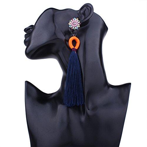qualité en boucles boucles ethnique Blue d'oreilles boucles frangée d'oreilles bohème longues or d'oreilles ligne de personnalité Femmes 6TqxUHP6
