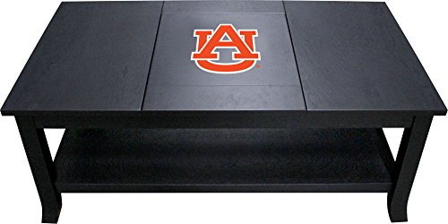 Imperial Officially Licensed NCAA Furniture: Hardwood Coffee Table, Auburn Tigers (Glass Football Table Top)