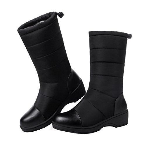 Enmayer Mujeres Down Material Botas De Nieve Resistentes Al Agua Y Calientes Botas Planas De Tacón Medio Con Tacón Grueso Negro # 76