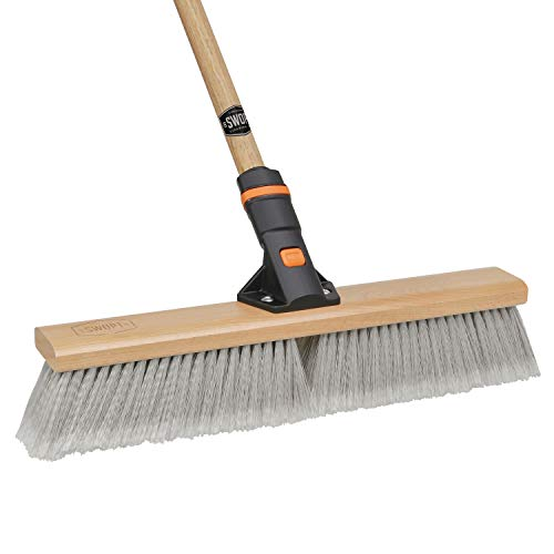18 SWOPT Smooth Surface Premium Push Broom - 60 Comfort Grip Wooden Handle - Handle Interchangeable with All SWOPT Cleaning Heads - EVA Foam Comfort Grip - Great for Indoor Applications