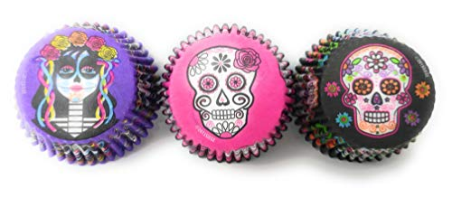 Day of the Dead Sugar Skull Halloween Cupcake Liners 3 Patterns 96 Wrappers Made in the USA ()