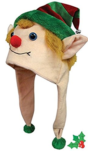 Christmas Elf Critter Cap Plush Animal Hat with Ear Flaps That Button Under the (Super Troopers Halloween Costumes Bear)
