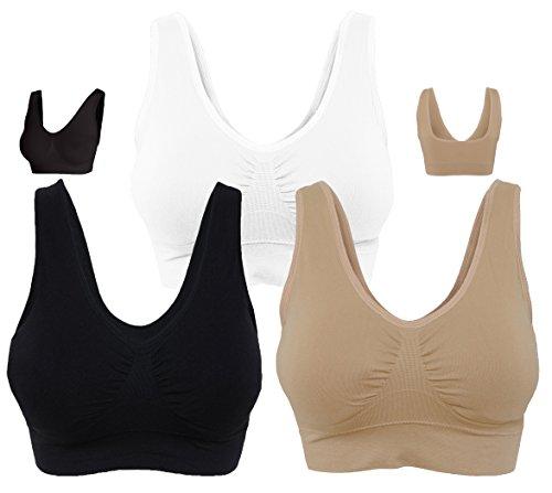 KINYAOYAO Women's 3-Pack Plus Size Seamless Wireless Sleep/Sport Bra,Black,White,Beige,5X-Large