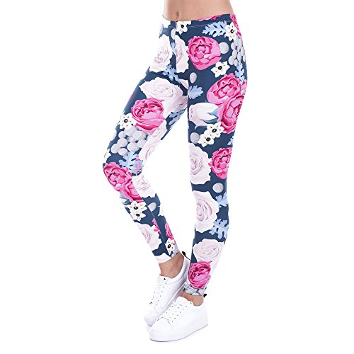 Women Flowers Printed Yoga Pants Luca Skinny Workout Gym Leggings Sports Pants (M, Multicolor)