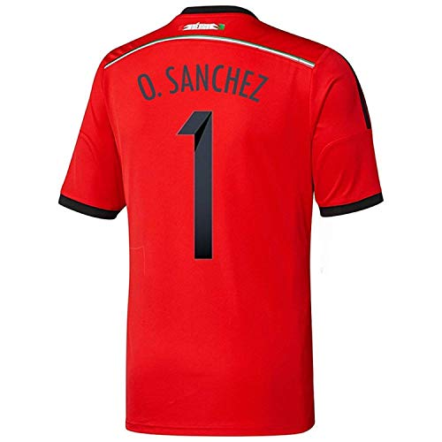 行列アニメーション福祉Adidas O. SANCHEZ #1 Mexico Away Jersey World Cup 2014/サッカーユニフォーム メキシコ アウェイ用 ワールドカップ2014 背番号1 O.サンチェス
