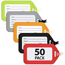 MIFFLIN Luggage Tags (Variety, 50 PK), Bag Tag for Baggage, Suitcase Tags Bulk