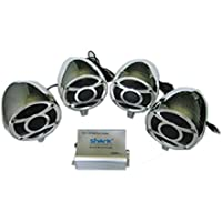 4ch 1000 Watt Motorcycle Audio System Stereo Four Quality Speakers Chrome. Handlebar clamps included