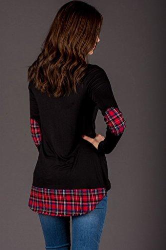 COMVIP - Camiseta de manga larga - Básico - Manga Larga - para mujer negro