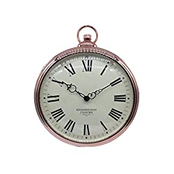 Vosarea Vintage Retro Wall Clock Pocket Watch Style Wall Hanging Clock for Living Room Kitchen Home Decoration Without Battery (Rose Gold)