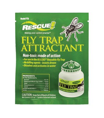 18-PACK RESCUE! Fly Trap Attractant Refills; Works with RESCUE! Reusable Fly Trap to lure common nuisance or filth flies including house flies, flesh flies and others; Non-toxic mode of action