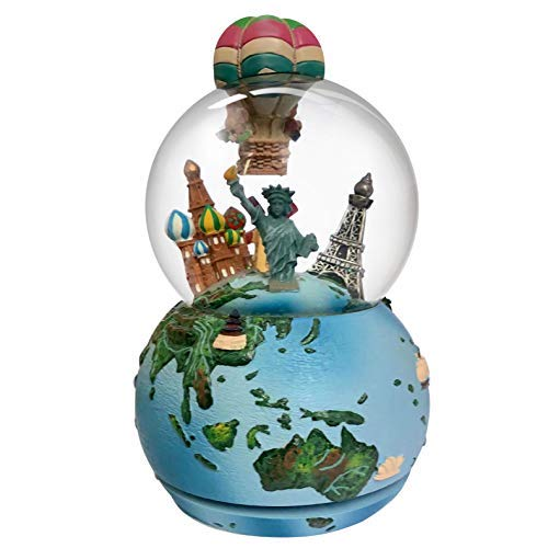 Nice Pies Around The World Travel Hot Air Balloon 3D Snow Globe Music Box Snow Rotating Gifts Home Decorations Christmas