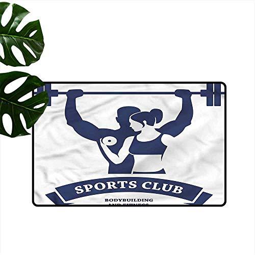 HOMEDD Custom Doormat,Fitness Bodybuilders Couple,Anti-Slip Doormat Footpad Machine Washable,35