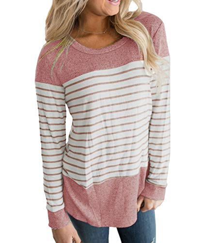 (Vemvan Womens Long Sleeve Round Neck T Shirts Color Block Striped Casual Blouses Tops Red)