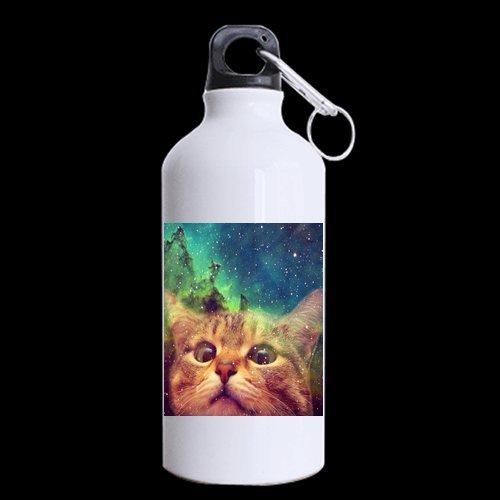 新しい年ギフト/クリスマスギフトキュートGalaxy Space Cat 100 %アルミニウム13.5 Ozスポーツボトル B01584EYHC