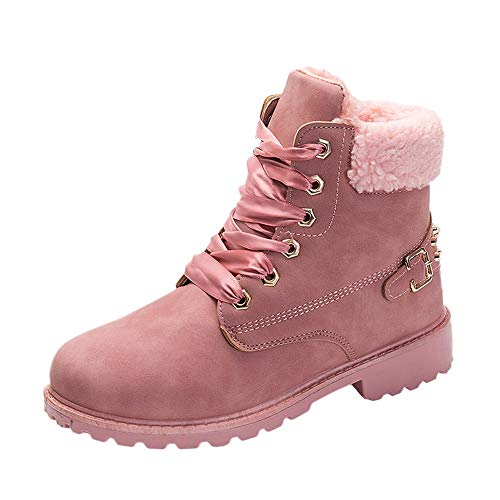 COPPEN Women Boots Retro Solid Ankle Thick Lace-up Short Round Toe Casual Shoes (Pink1, US:7) ()