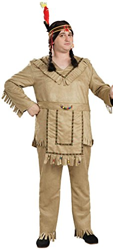 Couples Costumes Indian (Forum Novelties Men's Native American Brave Costume, Tan, Plus)
