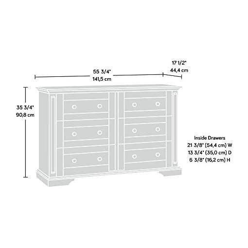 Bedroom Sauder New Grange Dresser, L: 55.75″ x W: 17.09″ x H: 35.75″, Vintage Oak dresser