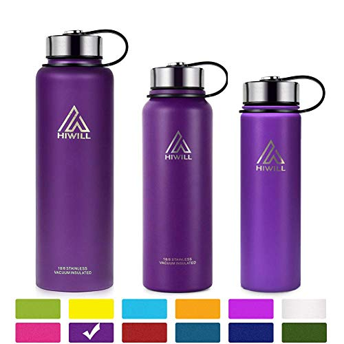 Hiwill Stainless Steel Insulated Water Bottle 2 Lids, Cold 24 Hours Hot 12 Hours, Double Wall Vacuum Thermos Flask, Travel Sports Leak Proof Metal Bottle with Straw (Lilac, 27 - Purple With Cup Insulated Straw