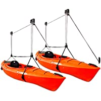 StoreYourBoard 2 Pack Kayak Ceiling Storage Hoist, Hi-Lift Overhead Rack, Indoor Garage Home Hanger, Canoes Paddleboards…