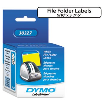 DYMO 30327-1-Up File Folder Labels, 9/16 x 3-7/16, White, 260/Box-DYM30327
