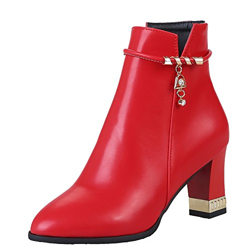 Red Chunky Heel Show Zip Pendants Women's Shine Dress Boots a7w48