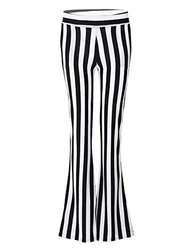 FEESHOW Women's 70s Retro Stretchy Stripes Bell Bottom Disco Fever Flare Pants Leggings Trousers Black&White Large -