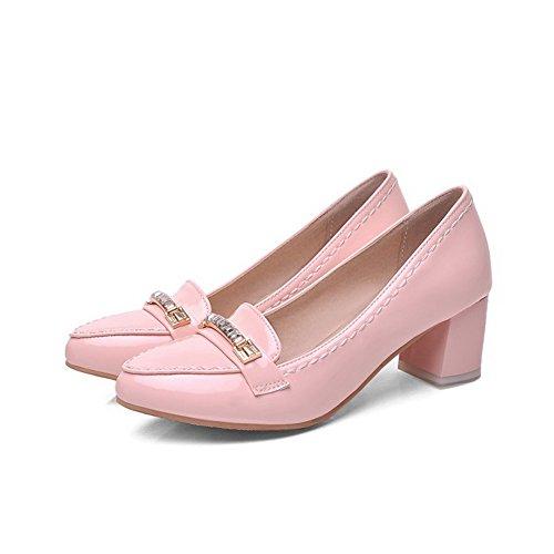 VogueZone009 Damen Ziehen auf Spitz Schließen Zehe Mittler Absatz Rein Pumps Schuhe Pink