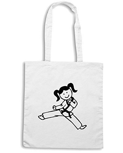 T-Shirtshock - Bolsa para la compra FUN0392 822c karate girl decal 92299 Blanco