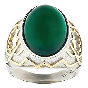 Aurora Men's Silver Aqeeq Green Ring