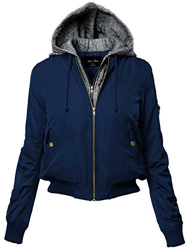 - Luna Flower Women's Long Sleeve Bomber Zip-Up Jacket with Knit Hoodie Navy 2X (LFWJA0013)