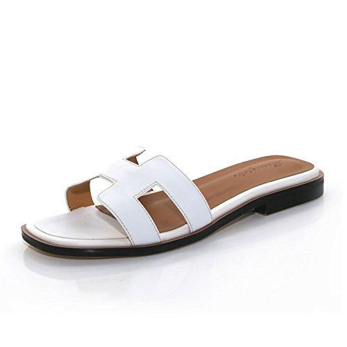 Flachen Sandalen Mode Hausschuhe Outdoor Lady Atmungsaktiv Und Bequem ( Farbe : Schwarz , größe : EU36/UK3.5/CN35 ) Weiß
