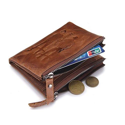 Large Short Brown2 Leather HYSENM Zipper Wallet Brown1 Purse Capacity Bifold Double Men Retro Genuine 5RAqqwxv
