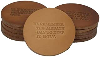 product image for Leather 10 Commandment Coaster Set