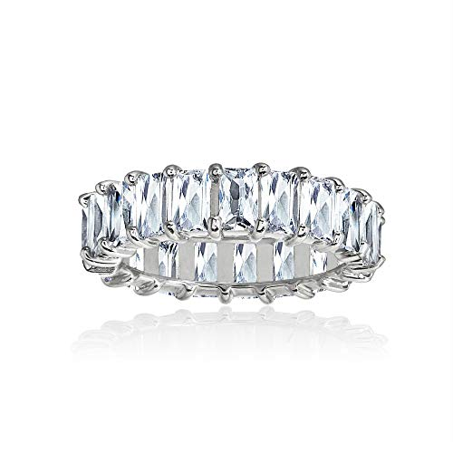 Sterling Silver Cubic Zirconia 5x3mm Baguette-Cut Anniversary Eternity Band Ring, Size ()