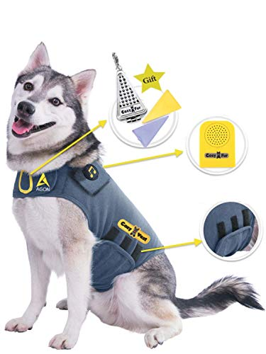 Agon CozyVest Music & Aromatherapy Patented Dog Anxiety Vest Calming Scent Treats Canine Stress Relief Fireworks Separation Pet Travel Thunder Storm Shirt Jacket Coat (Gray, M (26-40 Lbs))