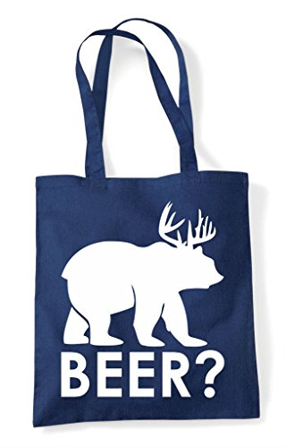 Funny Question Animal Themed Cross Bear Tote Beer Mark Deer Navy Bag Shopper Cute 6aZCY0qwd