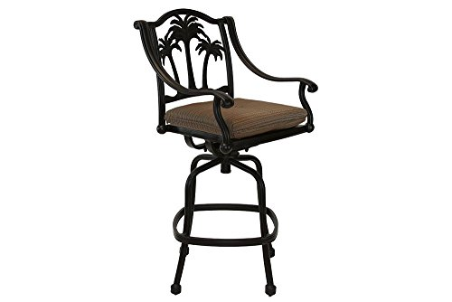 [Palm Tree Cast Aluminum Powder Coated Barstool - Set of 6 - Antique Bronze] (Bar Stool 6 Finishes)