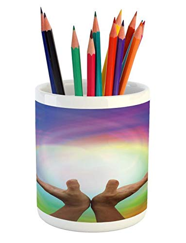 Lunarable Reiki Pencil Pen Holder, Outstretched Healing on Rainbow Color Energy Matrix Magical Alternative Energy Flow, Printed Ceramic Pencil Pen Holder for Desk Office Accessory, ()