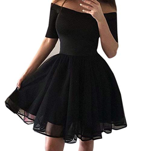 PASATO S-XL Black Sexy Women Off Shoulder Short Sleeve Mesh Vintage Gown Evening Party Mini Dress -